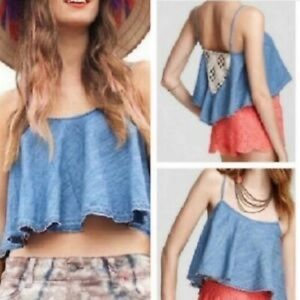 Free people chambray blue crochet back crop top M